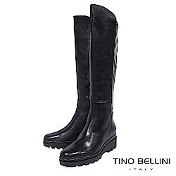 Tino Bellini 歐洲進口自然微皺感厚底及膝長靴 _ 黑