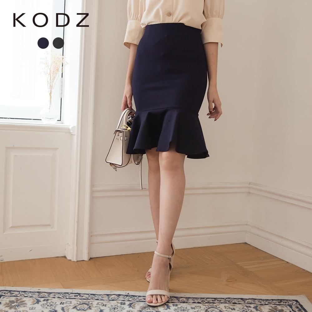 東京著衣-KODZ 時髦韓妞羅馬布魚尾裙-S.M(共二色)