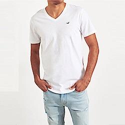 海鷗 Hollister HCO 經典刺繡標誌V領素面短袖T恤-白色