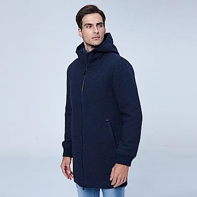 Lee 連帽羊毛大衣/RG-寶藍色