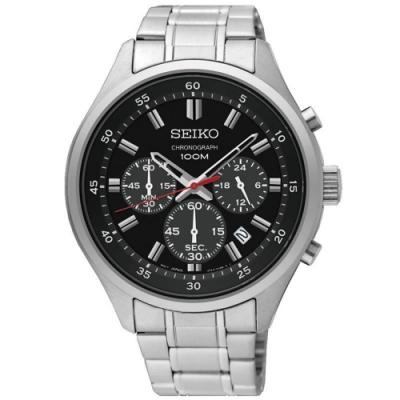 SEIKO精工   運籌帷幄三眼計時石英男錶(SKS587P1)-黑面x43mm