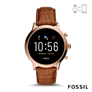 FOSSIL GEN 5茱莉安娜JULIANNA HR-咖啡皮革錶帶智能錶 44MM FTW6063