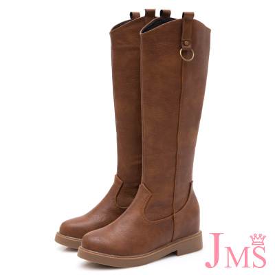 JMS-素面U型剪裁修腿內增高拉鍊長靴-棕色