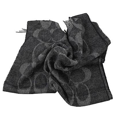 COACH大LOGO字樣羊毛圍巾(灰黑)