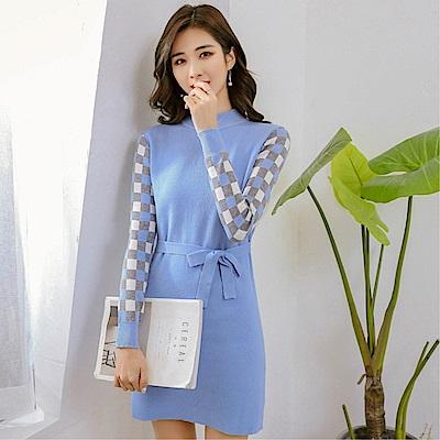DABI 韓國風格紋撞色針織半高領長袖洋裝