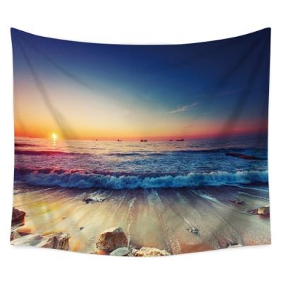 半島良品 北歐風裝飾掛布-沙灘系列/沙灘晚霞 150x130cm