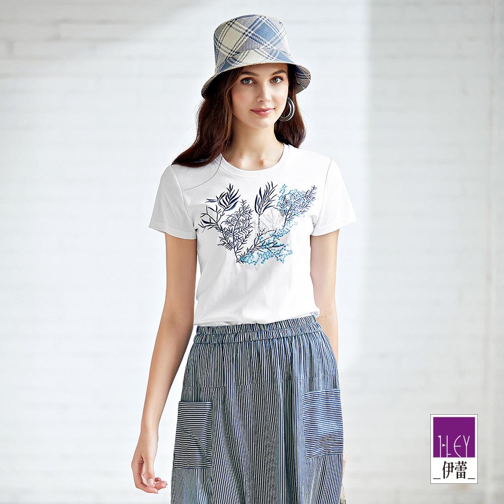 ILEY伊蕾 100%純棉海洋風刺繡上衣(白)