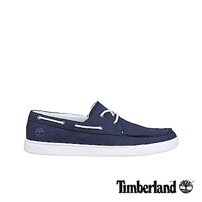 Timberland 男款海軍藍帆布船型休閒鞋|A1PGZ