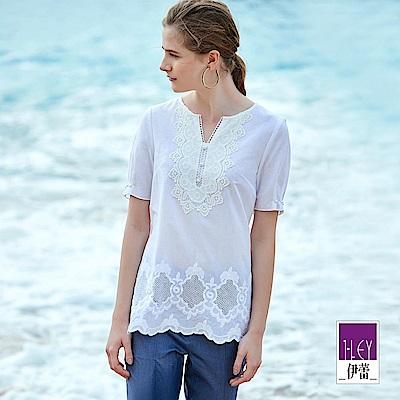 ILEY伊蕾 100%純棉輕薄蕾絲裝飾上衣(白)