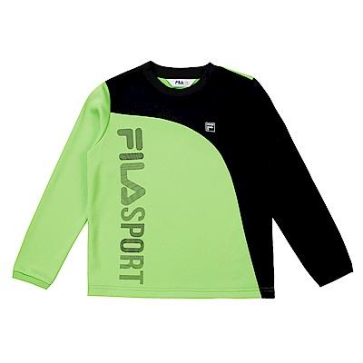 FILA KIDS 童吸濕排汗長袖上衣-黃綠 1TES-8300-LM