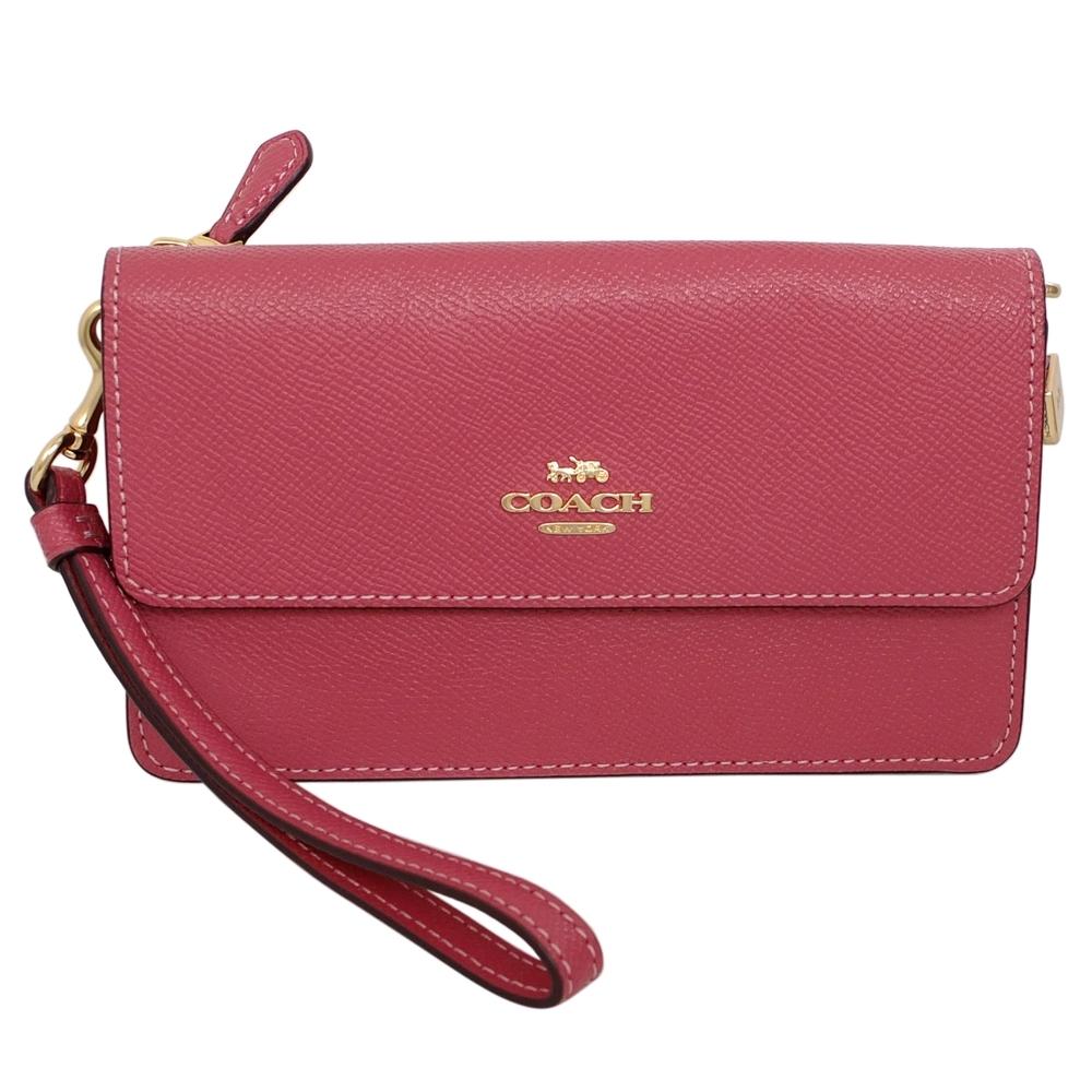 COACH梅紅防刮皮革拼淺卡C Logo釦式翻蓋方型手拿包