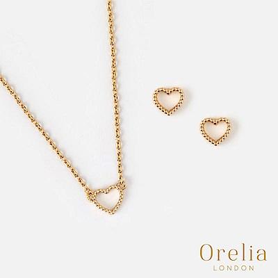 Orelia 英國倫敦 鏤空愛心鍍金項鍊耳環套組