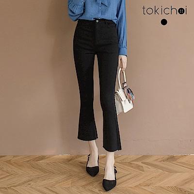 東京著衣 私物分享褲管抽鬚彈性牛仔褲-S.M.L(共一色)