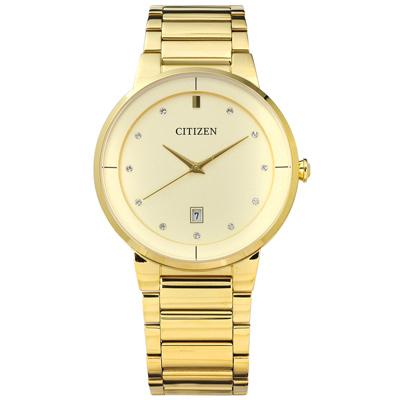 CITIZEN 星辰表 晶鑽刻度日期視窗日本機芯不鏽鋼手錶-鍍金/40mm