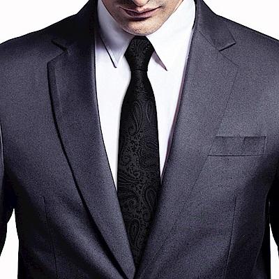 拉福   腰果紋8CM寬版領帶拉鍊領帶 (黑色紋)