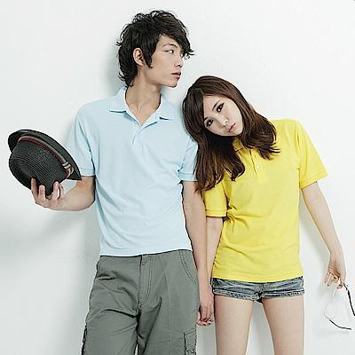 達邦 P0056情侶可穿/混搭短袖素面POLO衫-水藍系
