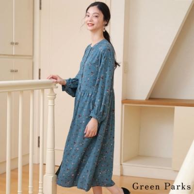 Green Parks 復古滿版印花前扣式連身洋裝