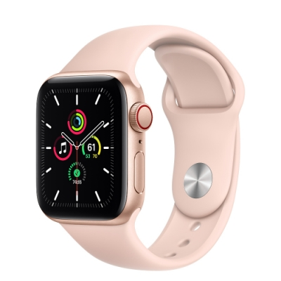 Apple Watch SE (GPS+行動網路) 40mm 金色鋁金屬錶殼+粉沙色錶帶(MYEH2TA/A)