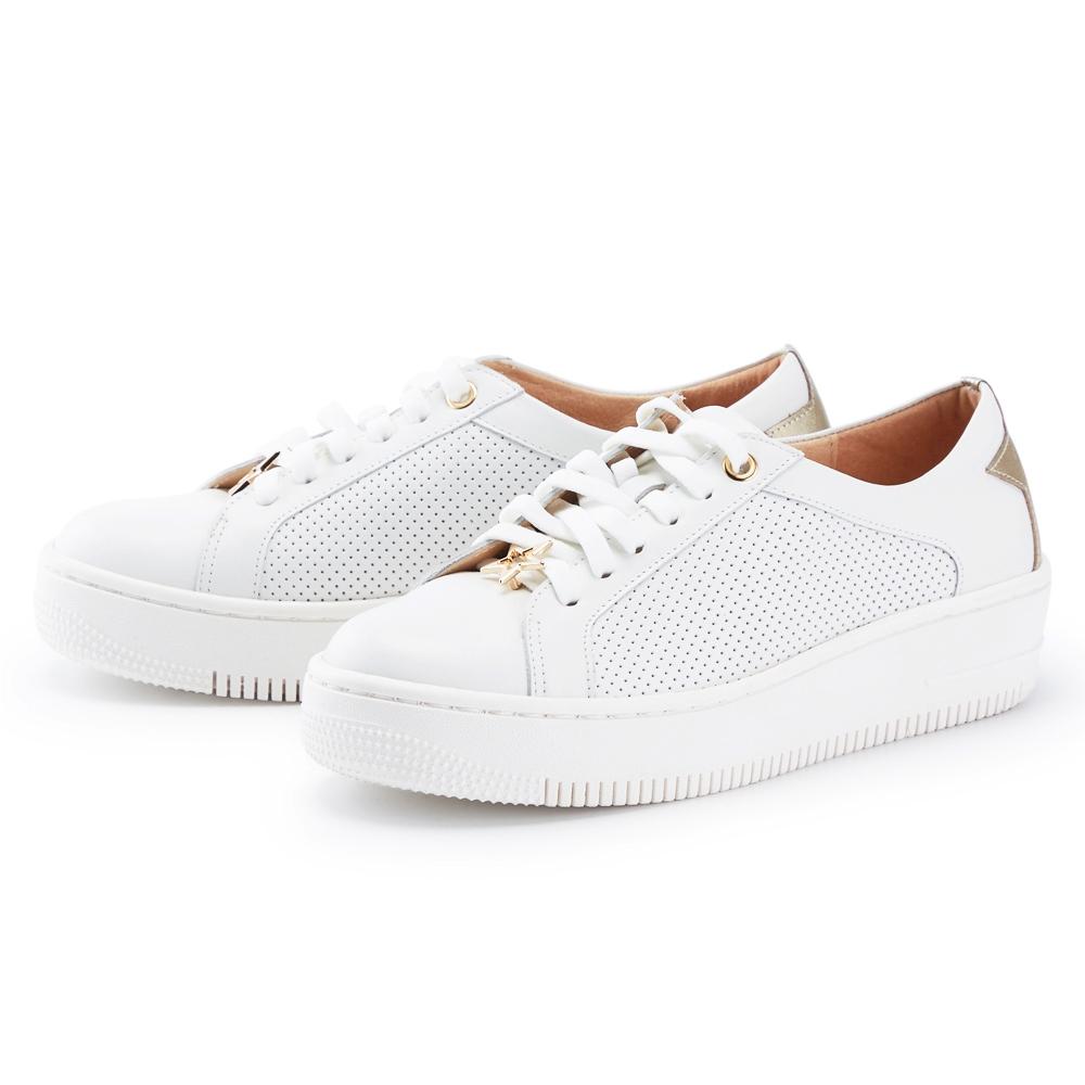 ORIN 金屬星星真皮綁帶厚底 女 休閒鞋 白色