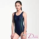 Dione 狄歐妮 泳裝 連身三角 排水競泳設計(附帽M-XL)