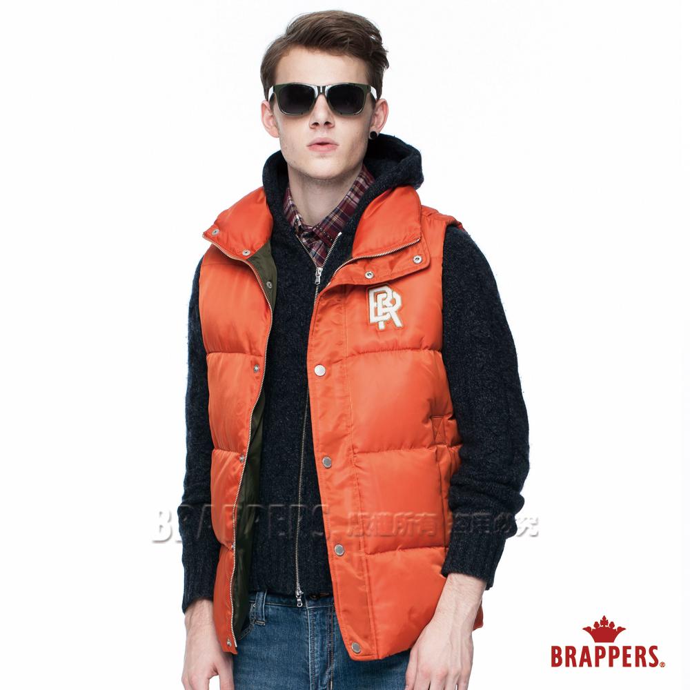 BRAPPERS 男款 男用撞色仿絨棉背心-橘