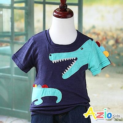 Azio Kids 上衣 彩色背鰭鱷魚短袖竹節棉T恤(深藍)