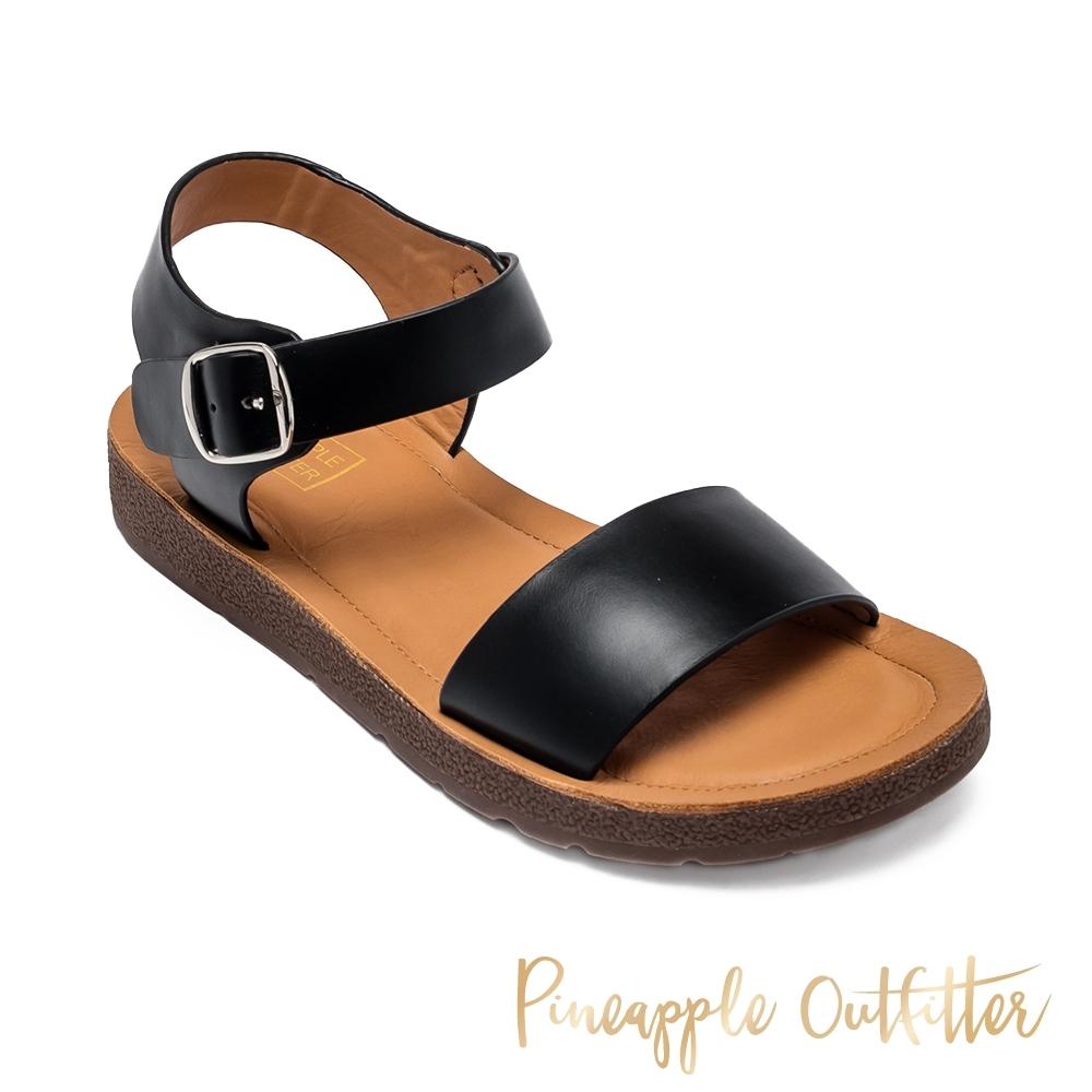 Pineapple Outfitter-SABA 夏日休閒寬版一字帶涼拖鞋-黑色