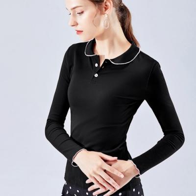 專注內搭-法式復古翻領滾邊撞色甜美polo領T恤(S-2XL可選)