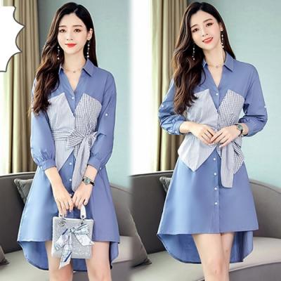 【韓國K.W.】(預購)完美女神拼接條紋長袖洋裝-1色