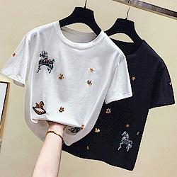 初色  圓領刺繡短袖T恤-共2色-(M-XL可選)