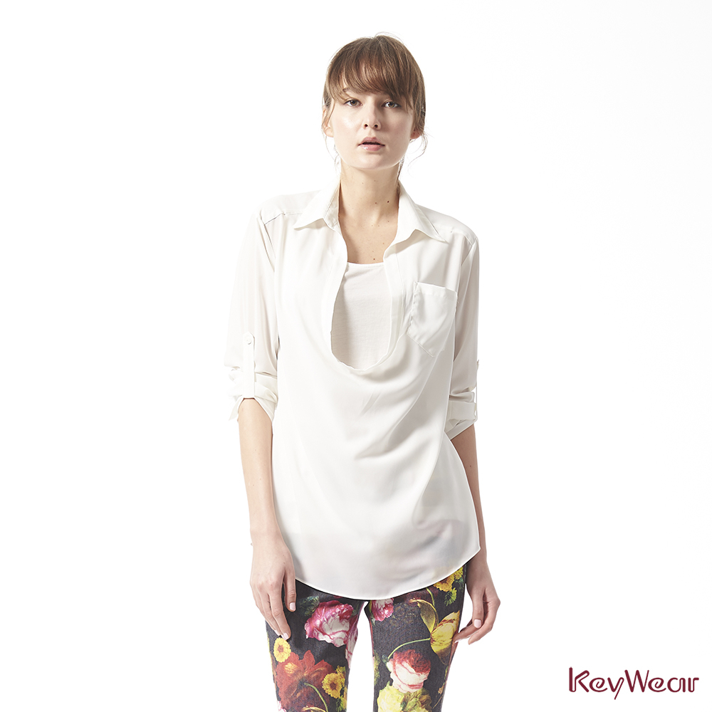 KeyWear奇威名品    簡約垂綴感七分袖襯衫-白色