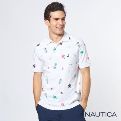 Nautica 熱帶雨林印花短袖POLO衫-白