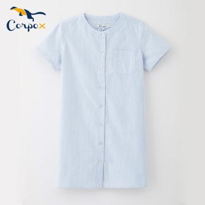 Corpox-女童短袖小洋裝-藍白條紋