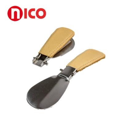 不鏽鋼牛皮摺疊鞋拔 隨身攜帶【德國nico】
