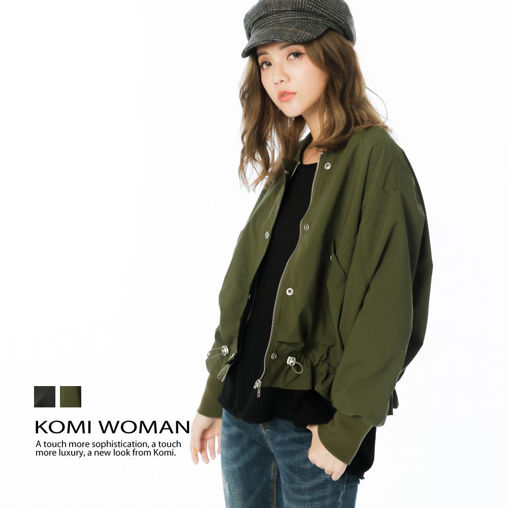 【KOMI】軍裝風飛行夾克外套‧全裡 (二色)