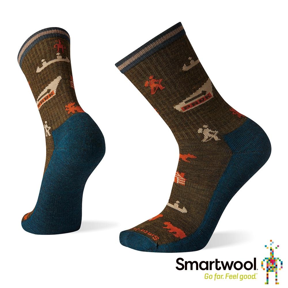 Smartwool 輕型徒步印花中長襪-國家公園 軍風橄綠