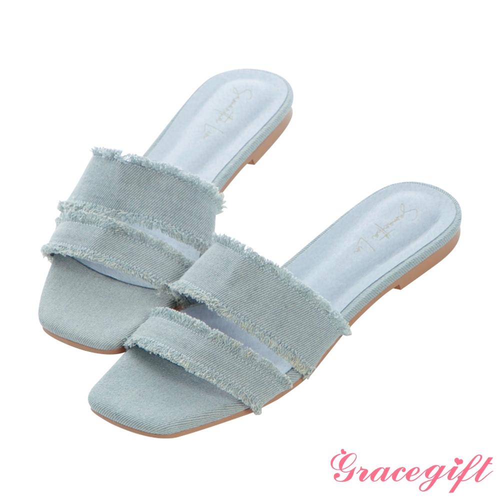 Grace gift X Samantha聯名-牛仔布抽鬚雙帶平底涼拖鞋 淺藍