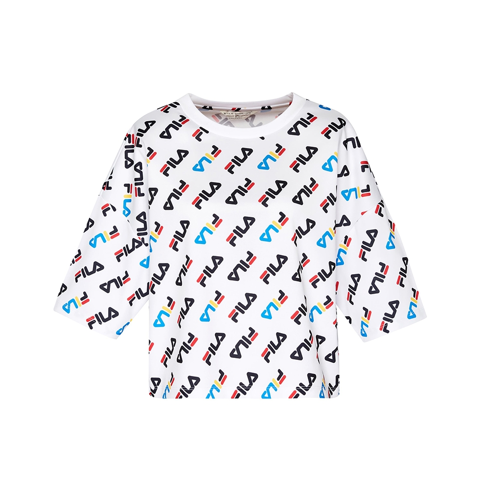 FILA 女吸排滿版短袖圓領T恤-白色 5TEV-5481-WT