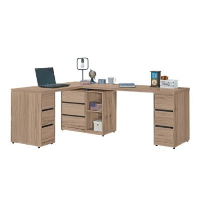 文創集 納多德 現代6.9尺九抽L型書桌/電腦桌-206-300x56-150x76.5cm免組