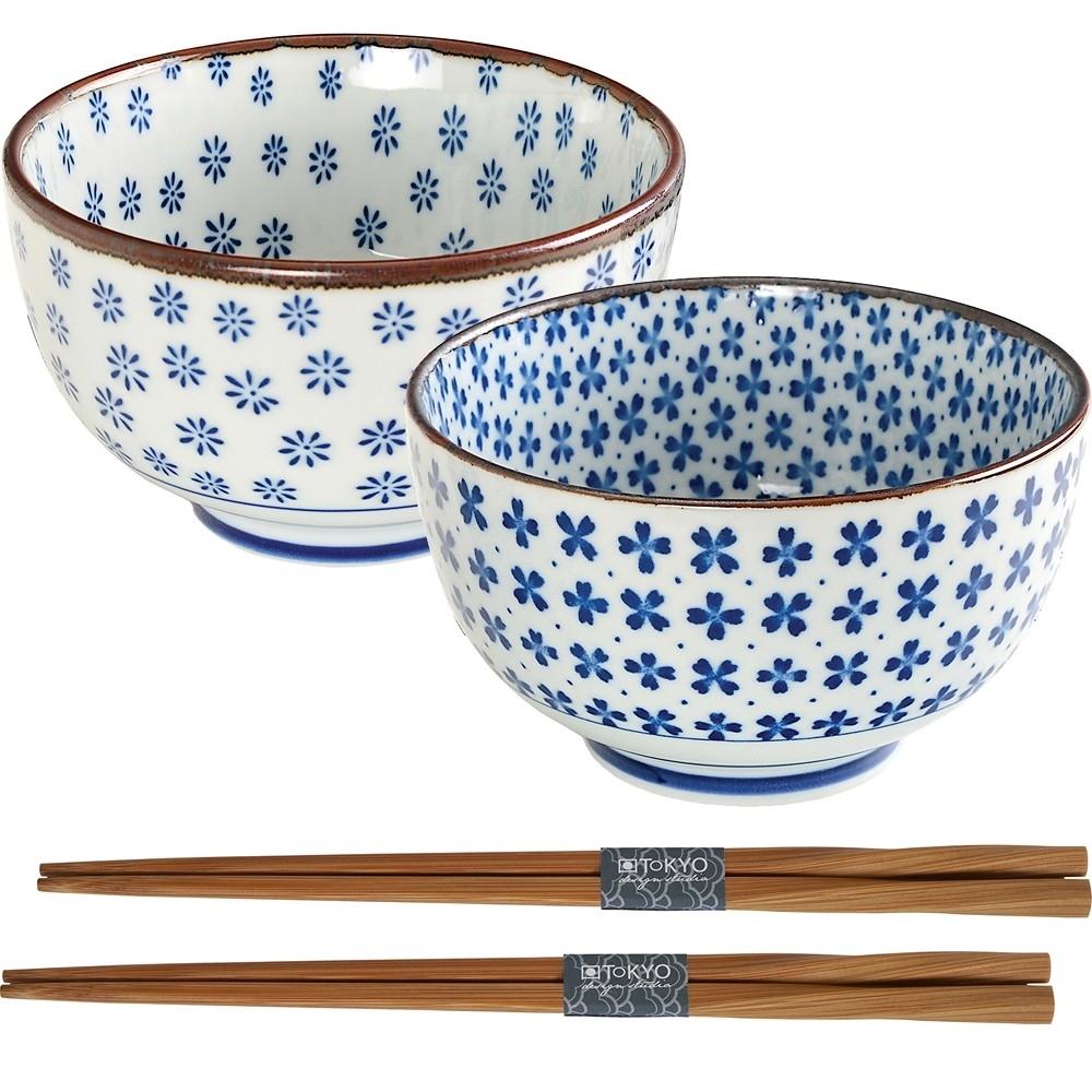 《Tokyo Design》瓷製餐碗+竹筷4件(小花)