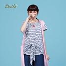 【Dailo】條紋綁結連袖-上衣(三色)