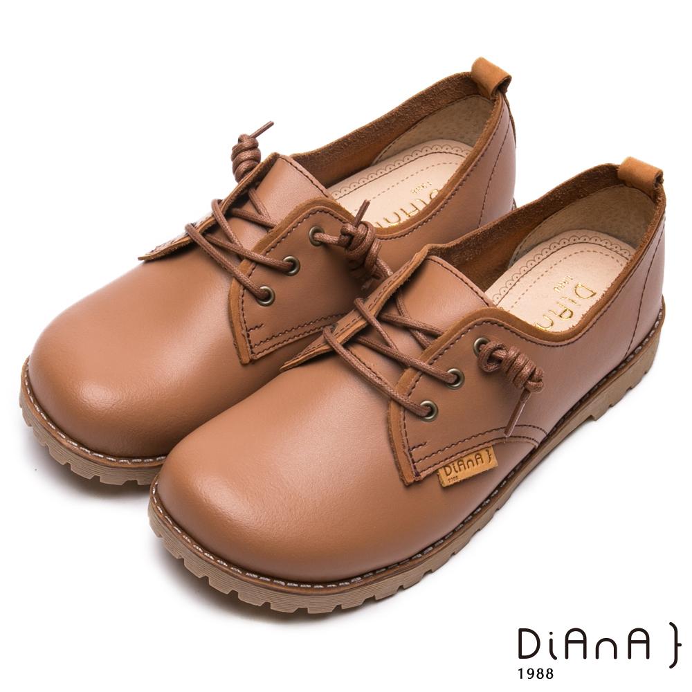 DIANA真皮綁帶工程休閒鞋-漫步雲端厚切焦糖美人-棕