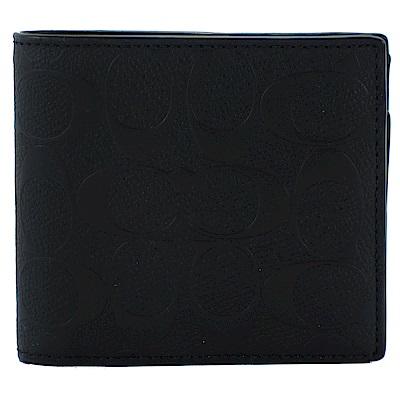 COACH C LOGO壓紋皮革八卡男用短夾(附證件夾)(黑)