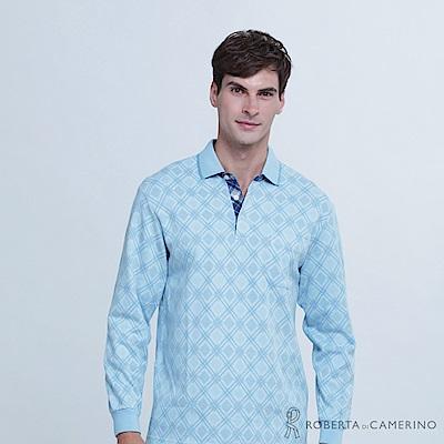 ROBERTA諾貝達 台灣製 魅力型男 菱格長袖POLO棉衫  淺藍