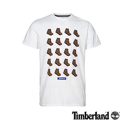 Timberland 男款白色鞋靴圖案短袖T恤|A1YEX