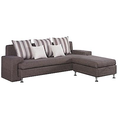 文創集 布奇里亞麻布L型獨立筒沙發(三人座+椅凳+二色)-235x166x75cm免組