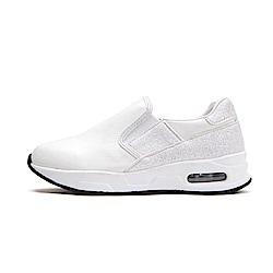 【AIRKOREA韓國空運】雙鞋面材質拼接氣墊休閒懶人便鞋-白