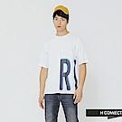 H:CONNECT 韓國品牌 男裝-率性側印字T-shir-白