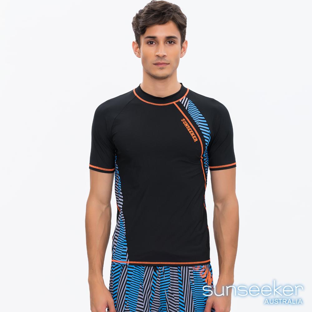 澳洲Sunseeker泳裝男士時尚條紋短袖衝浪泳衣上衣-黑