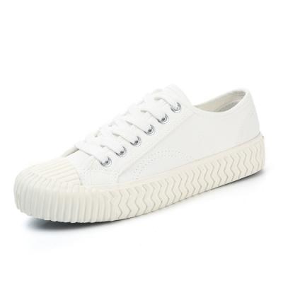 韓國KW美鞋館 簡約經典綁帶厚底帆布鞋-白